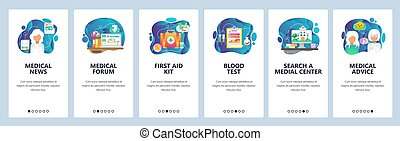 Mobile app onboarding screens. Medical doctor prescription, hospital and clinic building, first aid kit, medicine news. Vector banner template for website and mobile development. Web site illustration