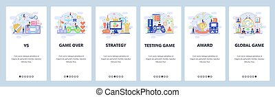 Mobile app onboarding screens. Online computer games, strategy, game over, winner, console controller. Menu vector banner template for website and mobile development. Web site design flat illustration