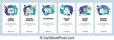 Mobile app onboarding screens. Online education and internet...