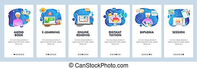 Mobile app onboarding screens. Online education, digital...