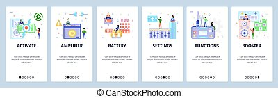 Mobile app onboarding screens. Portable gaming console, battery, audio amplifier. Menu vector banner template for website and mobile development. Web site design flat illustration