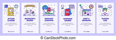 Mobile app onboarding screens. School and college education, distance online learning, intensive cources. Menu vector banner template for website and mobile development. Web site design illustration
