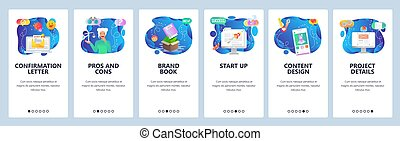 Mobile app onboarding screens. Site wireframe, launch business startup, email, pros and cons. Menu vector banner template for website and mobile development. Web site design flat illustration