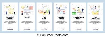 Mobile app onboarding screens. Tax profit balance, business ...