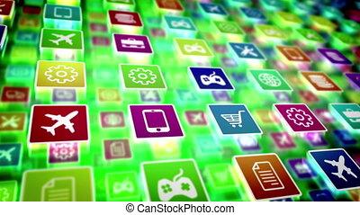 """mobile, app, résumé, icons."""", """"animation"""