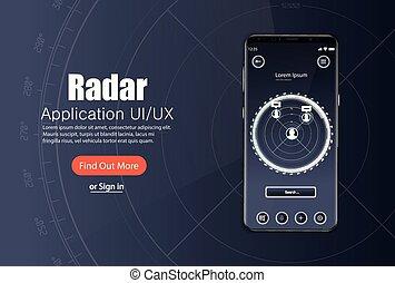 Mobile app, Radar screen template with modern design