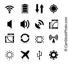 mobile, app, reflet, icônes