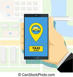 Mobile app to call a taxi. Man holding a smartphone in his hand.