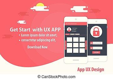 Mobile App UX Design Vector Template concept