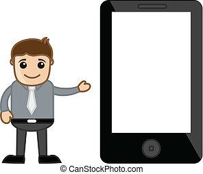 mobile, appareil, présentation, tablette, homme
