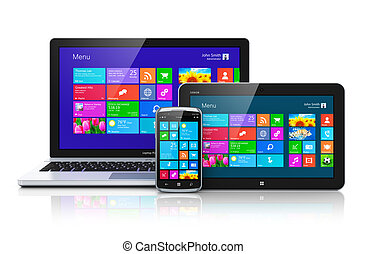 mobile, appareils, à, touchscreen, interface