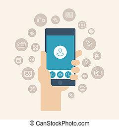 mobile, appartamento, apps, illustrazione