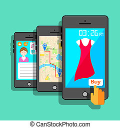 Mobile Application Concept - illustration of mobile ...