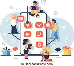 mobile, application, créatif, développement, design.