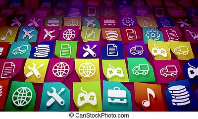Mobile application icons shot askew - 3d illustration of ...