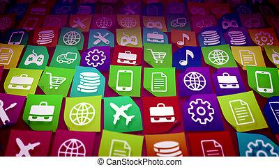 Mobile application icons taken diagonally