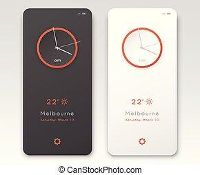 Mobile application interface design. Clock screensaver dark ...