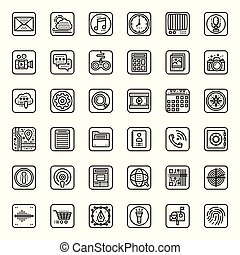 Mobile Application outline icon, isolated on white ...