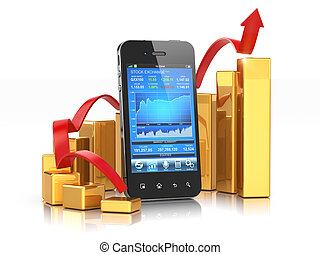 mobile, application, stockage, graph., échange