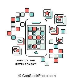 mobile, application, téléphone