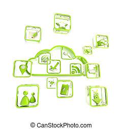 mobile, application, technologie, nuage, icône