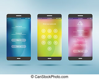 Mobile application UI kit collection set. Join us screen,...