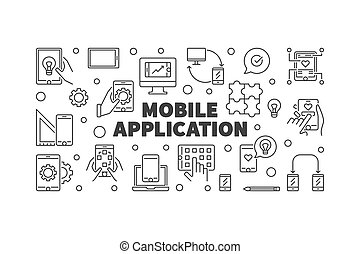 Mobile Application vector concept simple banner