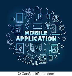 Mobile Application vector round blue outline illustration