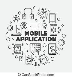 Mobile Application vector round outline illustration