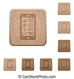Mobile application wooden buttons