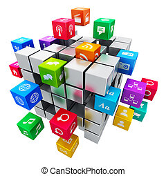 Mobile applications and media technology concept - Creative...