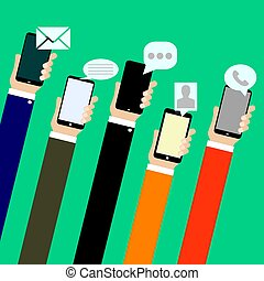 Mobile applications concept. Hand with phones, flat.