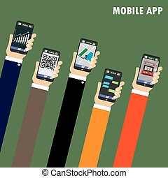 Mobile applications concept. Hand with phones, flat