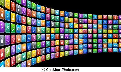 Mobile applications concept: endless moving row of colorful...