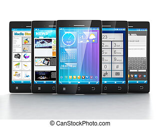 Mobile applications. Group of mobile phones are frontally on...