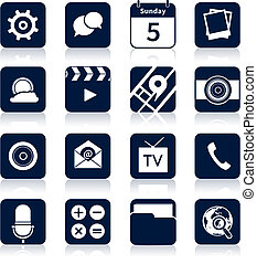 Mobile applications icons black