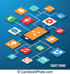 Mobile applications isometric icons - Mobile phone ...