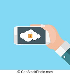 Mobile Apps Concept Mobile Security in Modern Flat Style Vector Illustration