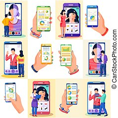 Mobile apps concept - social networking, online business, communication, phone screen set