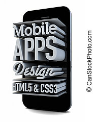 mobile apps design - render of a smartphone with text on the...