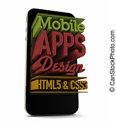 mobile apps design - render of an smartphone with text on...