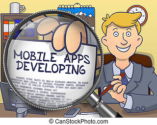 Mobile Apps Developing through Magnifying Glass. Doodle Design.