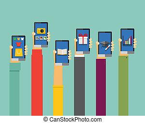 mobile, apps, illustration