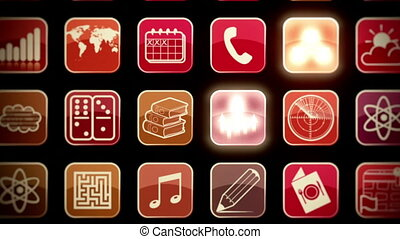 Animation showing a wide variety of generic smartphone app icons randomly lighting up as the camera zooms out.