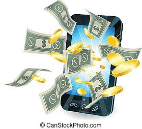 mobile, argent, concept, téléphone