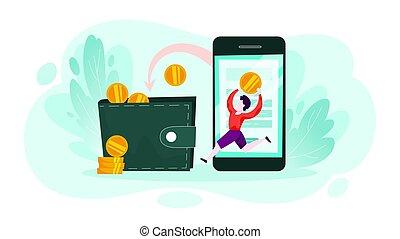 mobile, argent, tomber, portefeuille., téléphone