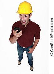 mobile, arrabbiato, telefono, giù, gridare, costruttore