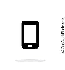 mobile, arrière-plan., blanc, icône, téléphone
