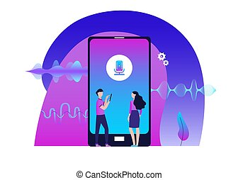 Mobile audio editor with people and amplitude waves flat vector illustration.
