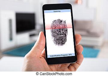 mobile, balayage, empreinte doigt, personne, téléphone